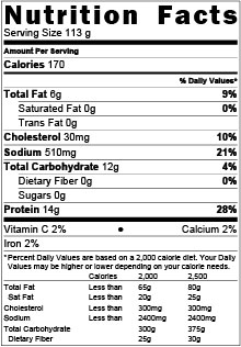Battered Taco Cut Cod Nutritional Table