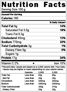 Pulled Beef Barbacoa Nutritional Table