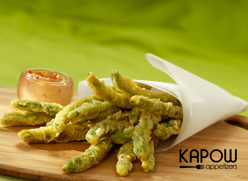 Picked at their peak of flavour and dipped in an Asian inspired tempura batter, these delicious green beans are frozen and ready to fry up on demand.  Serve hot with your favourite selection of dipping sauces.
