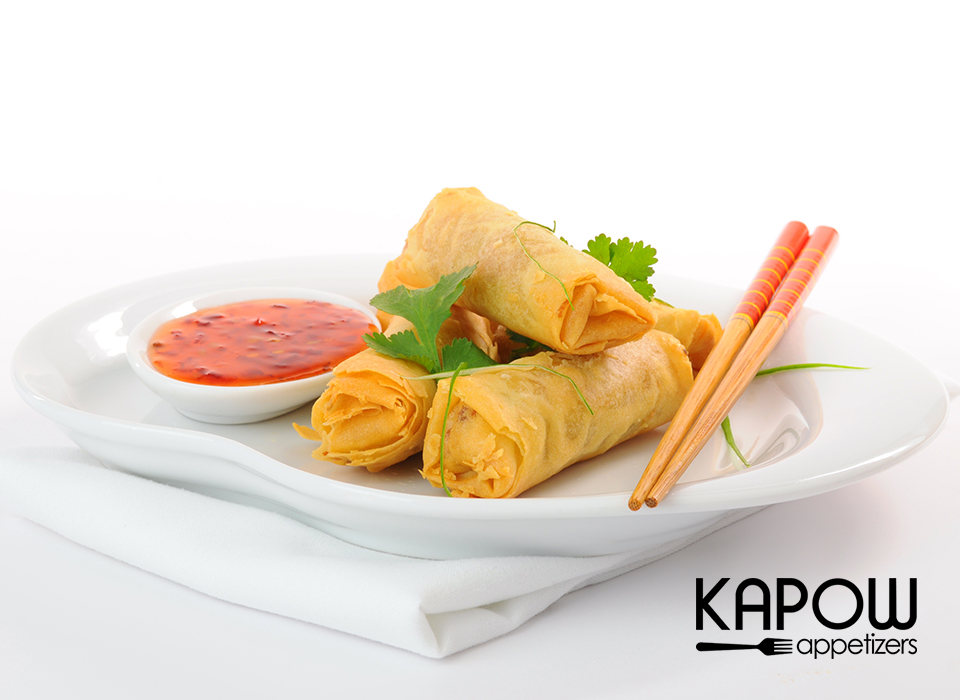 The vegetable spring roll is named as such because it would use the new season's spring vegetables and was served at the Spring Festivals. Now this crispy multi-cultural favourite is served throughout the world all year long. The KAPOW Spring roll is made with a delectable mix of chopped vegetables and vermicelli, wrapped in thin flour shell and deep fried to a delicious golden brown. Serve with your favourite sauce.