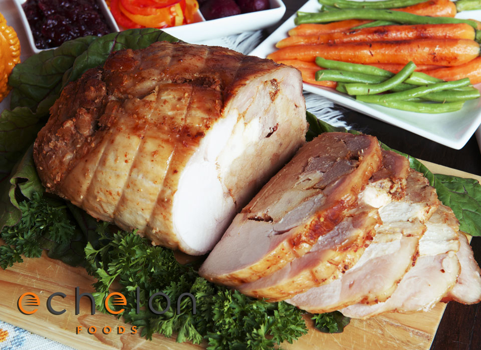 Our Original Turducken™ is a de-boned whole turkey wrapped around moist duck and chicken breasts, and stuffed with chicken apple or Italian sausage stuffing. This tasty beast serves 12-15 hungry adults and is easier to cook than a traditional turkey.